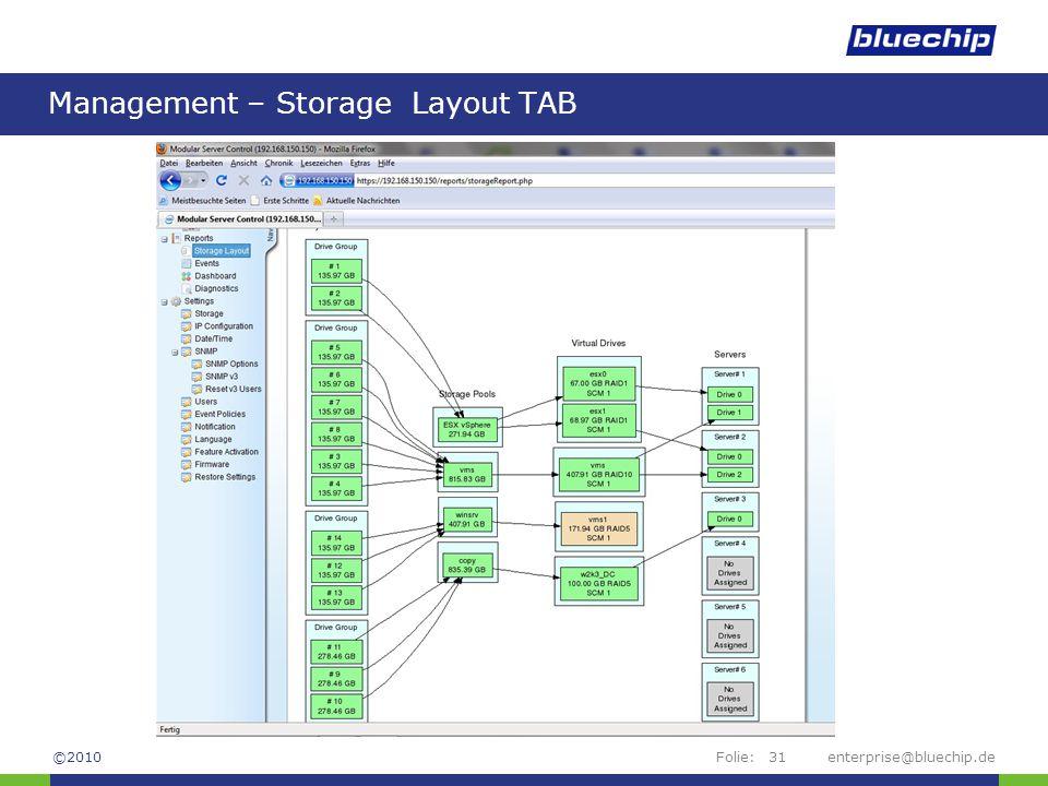 Management – Storage Layout TAB