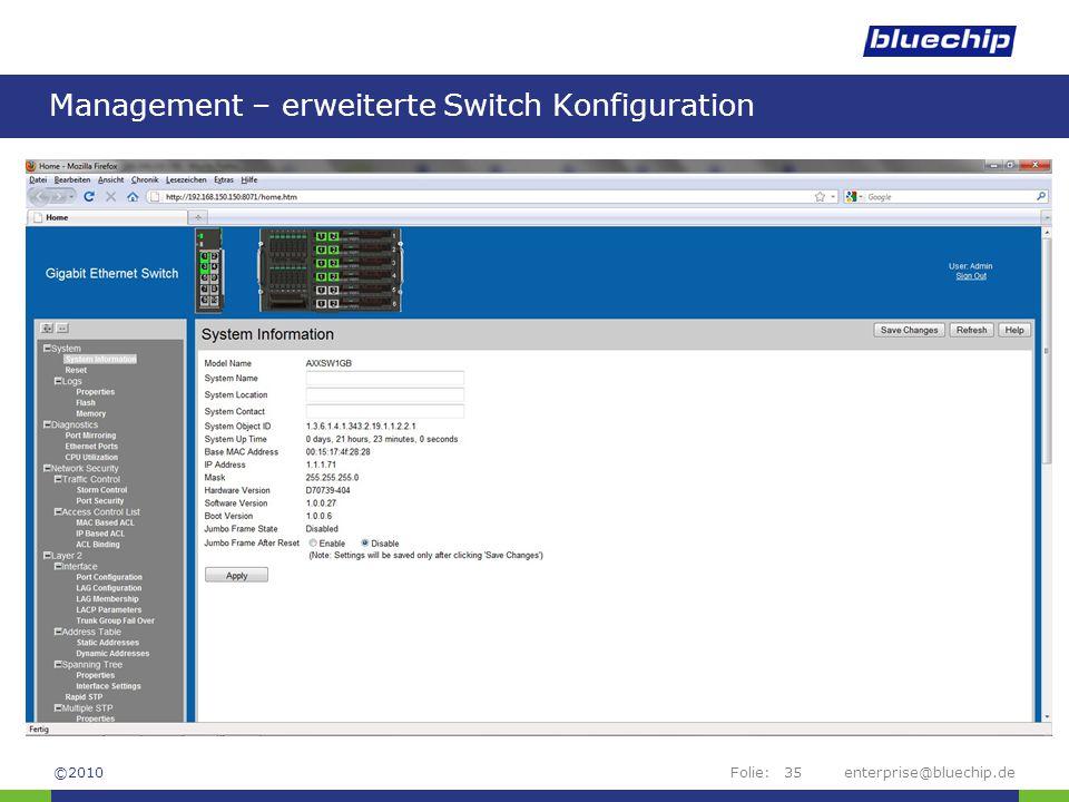 Management – erweiterte Switch Konfiguration