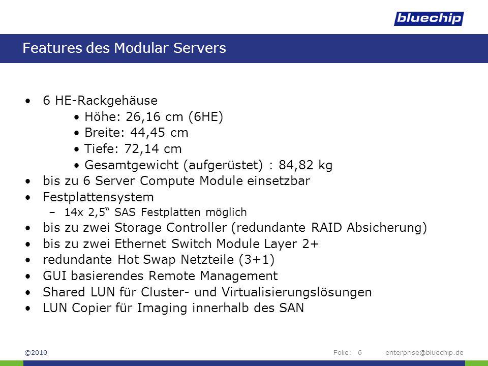 Features des Modular Servers