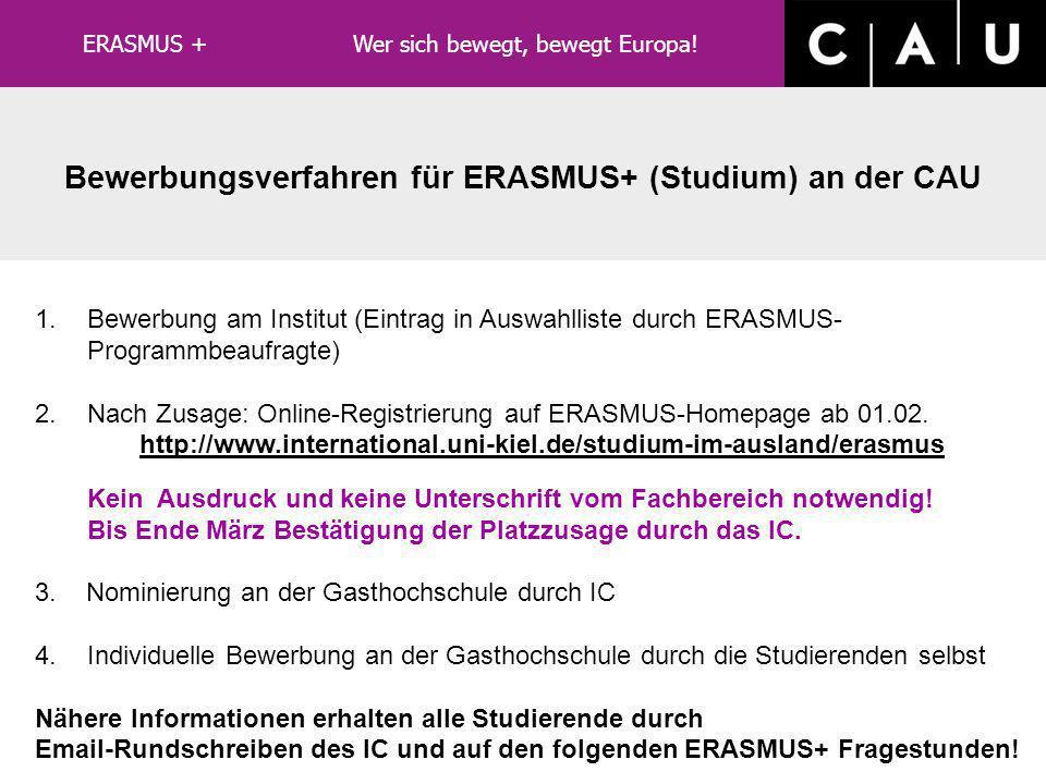 Bewerbungsverfahren für ERASMUS+ (Studium) an der CAU
