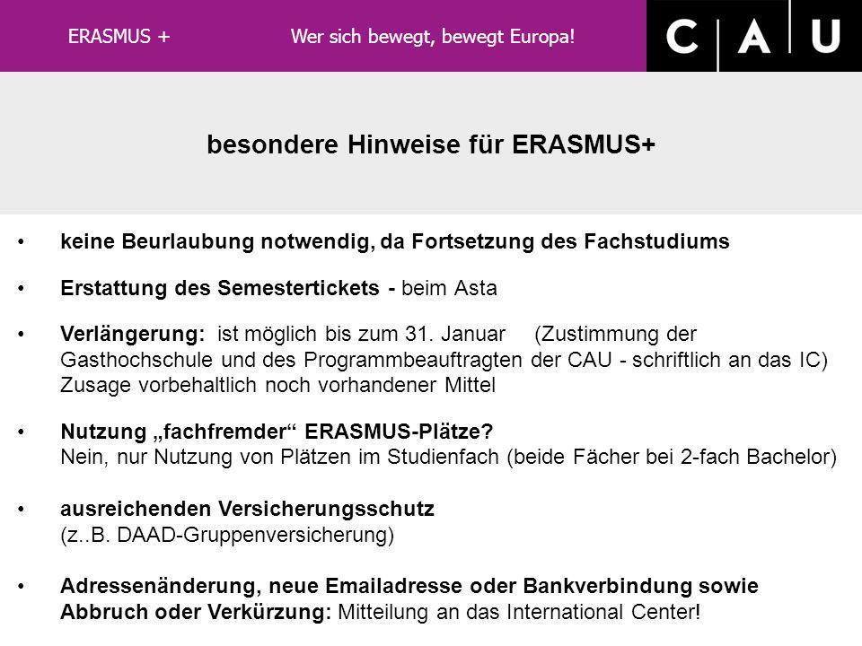 besondere Hinweise für ERASMUS+