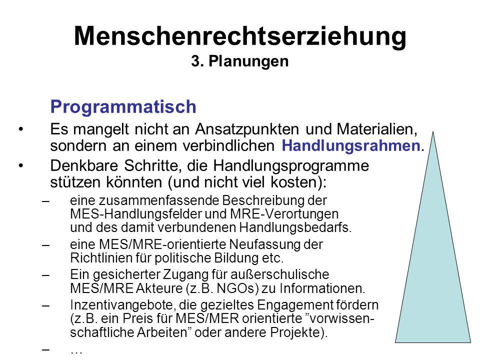 Menschenrechtserziehung 3. Planungen