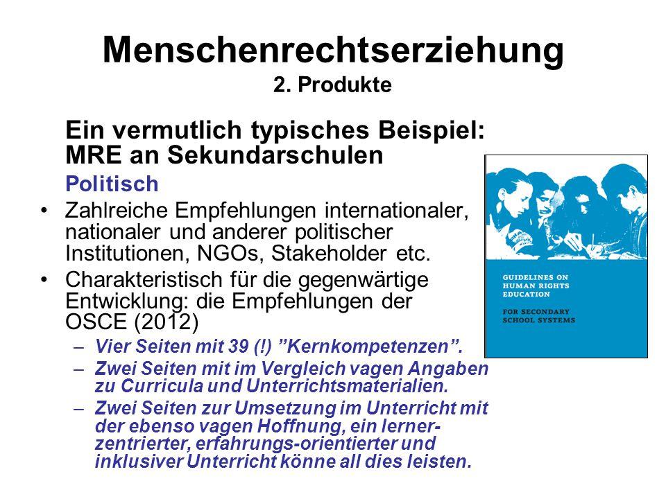 Menschenrechtserziehung 2. Produkte