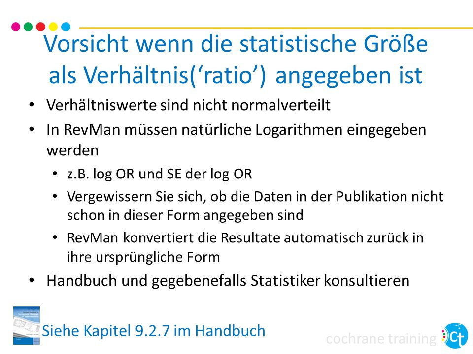 Vorsicht wenn die statistische Größe als Verhältnis('ratio') angegeben ist