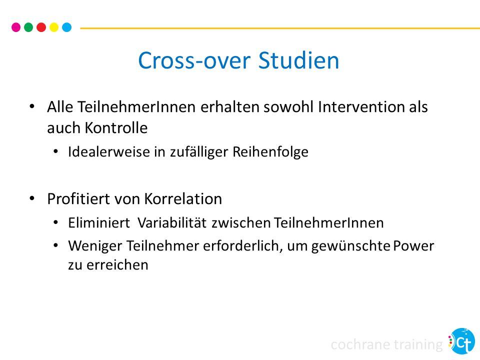 Cross-over Studien Alle TeilnehmerInnen erhalten sowohl Intervention als auch Kontrolle. Idealerweise in zufälliger Reihenfolge.