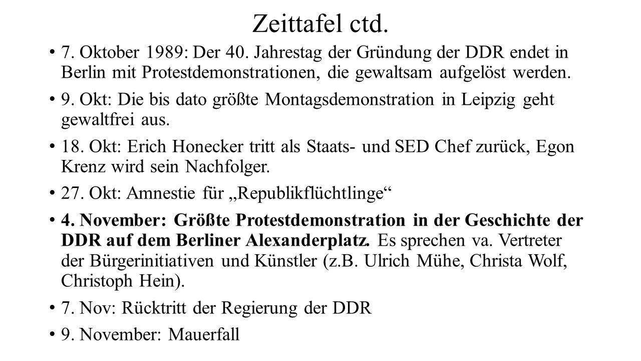 Zeittafel ctd. 7. Oktober 1989: Der 40. Jahrestag der Gründung der DDR endet in Berlin mit Protestdemonstrationen, die gewaltsam aufgelöst werden.