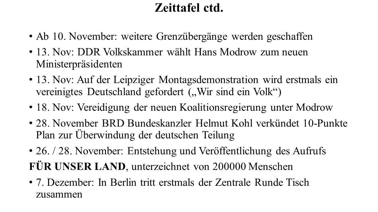 Zeittafel ctd. Ab 10. November: weitere Grenzübergänge werden geschaffen. 13. Nov: DDR Volkskammer wählt Hans Modrow zum neuen Ministerpräsidenten.