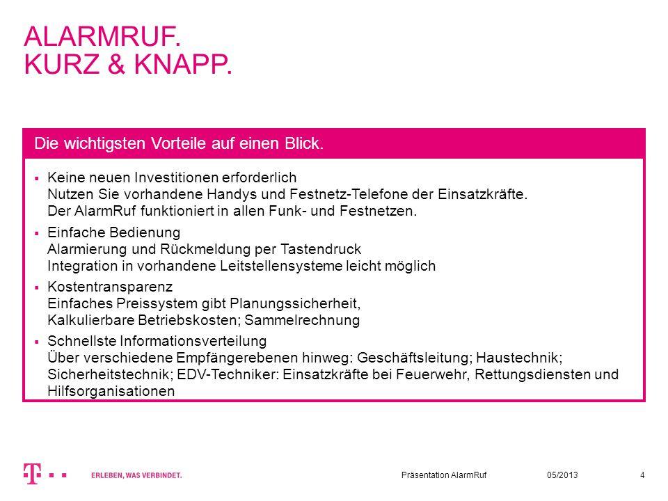 ALARMRUF. KURZ & KNAPP. Die wichtigsten Vorteile auf einen Blick.
