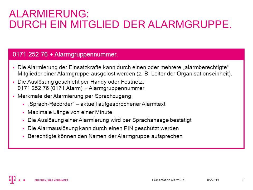 ALARMIERUNG: DURCH EIN MITGLIED DER ALARMGRUPPE.