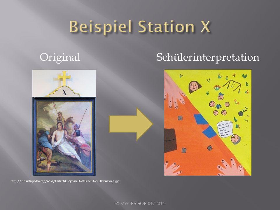 Beispiel Station X Original Schülerinterpretation © MW-RS-SOB 04/2014