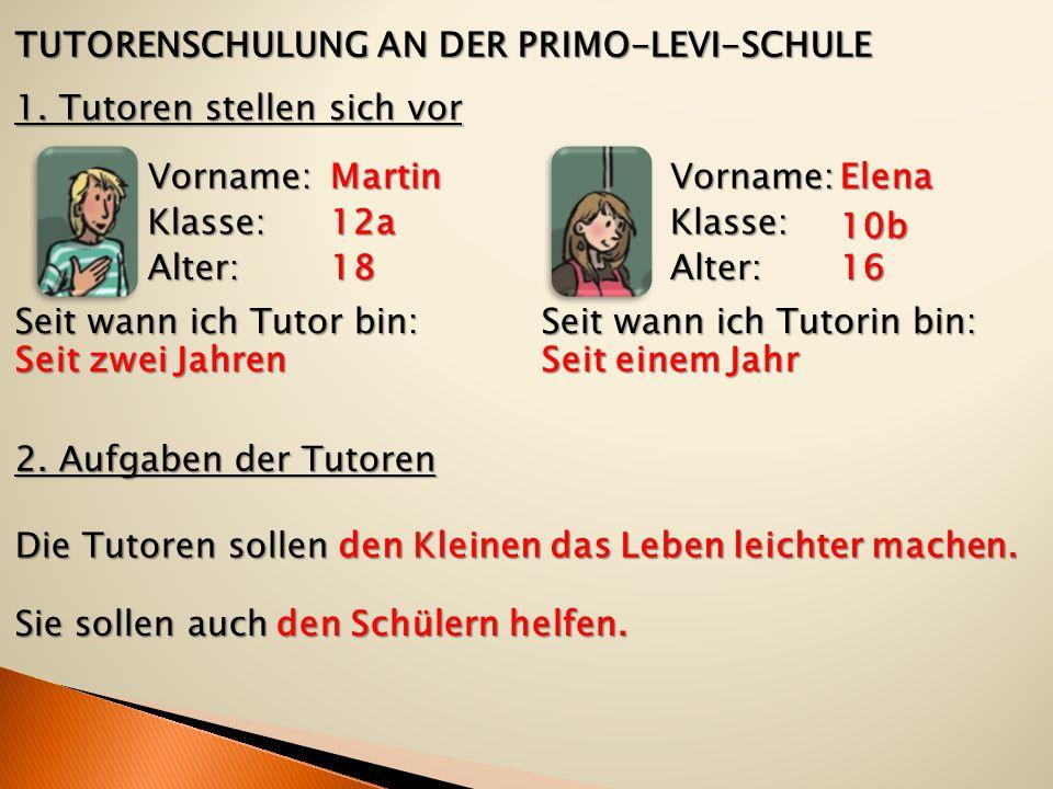 TUTORENSCHULUNG AN DER PRIMO-LEVI-SCHULE