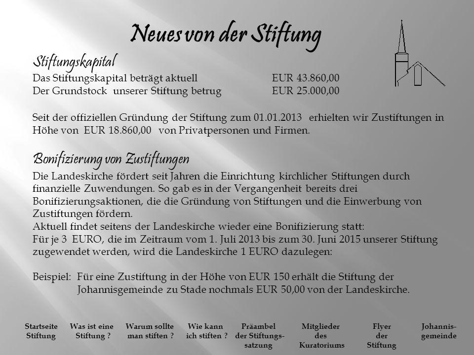 Neues von der Stiftung Stiftungskapital Das Stiftungskapital beträgt aktuell EUR 43.860,00.