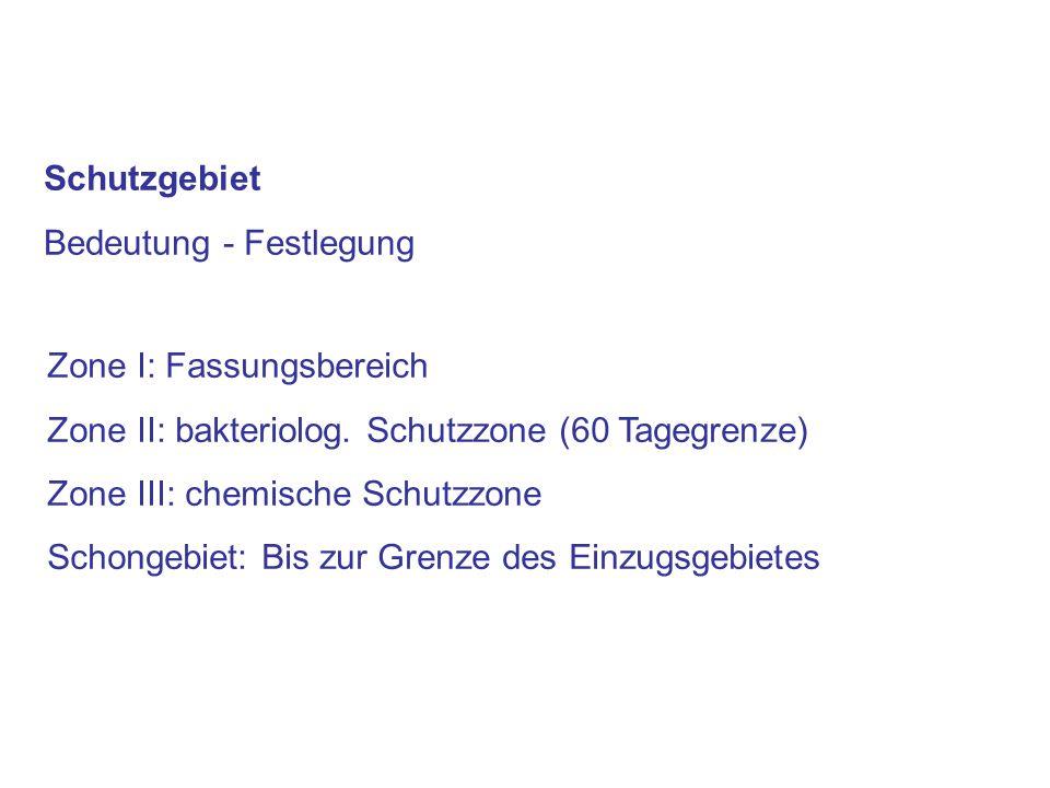 Schutzgebiet Bedeutung - Festlegung. Zone I: Fassungsbereich. Zone II: bakteriolog. Schutzzone (60 Tagegrenze)
