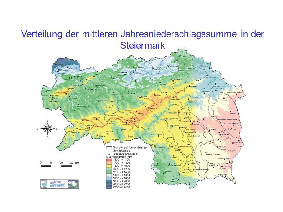 Verteilung der mittleren Jahresniederschlagssumme in der Steiermark