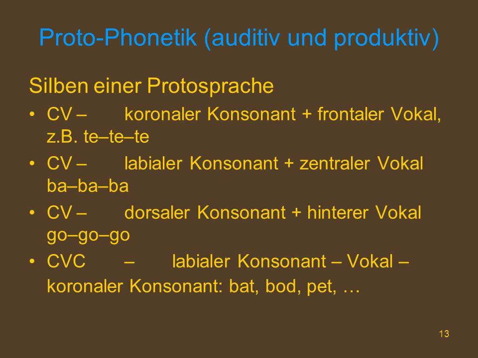 Proto-Phonetik (auditiv und produktiv)