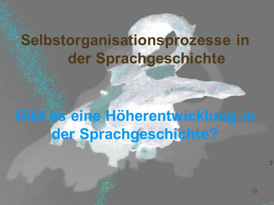 Selbstorganisationsprozesse in der Sprachgeschichte