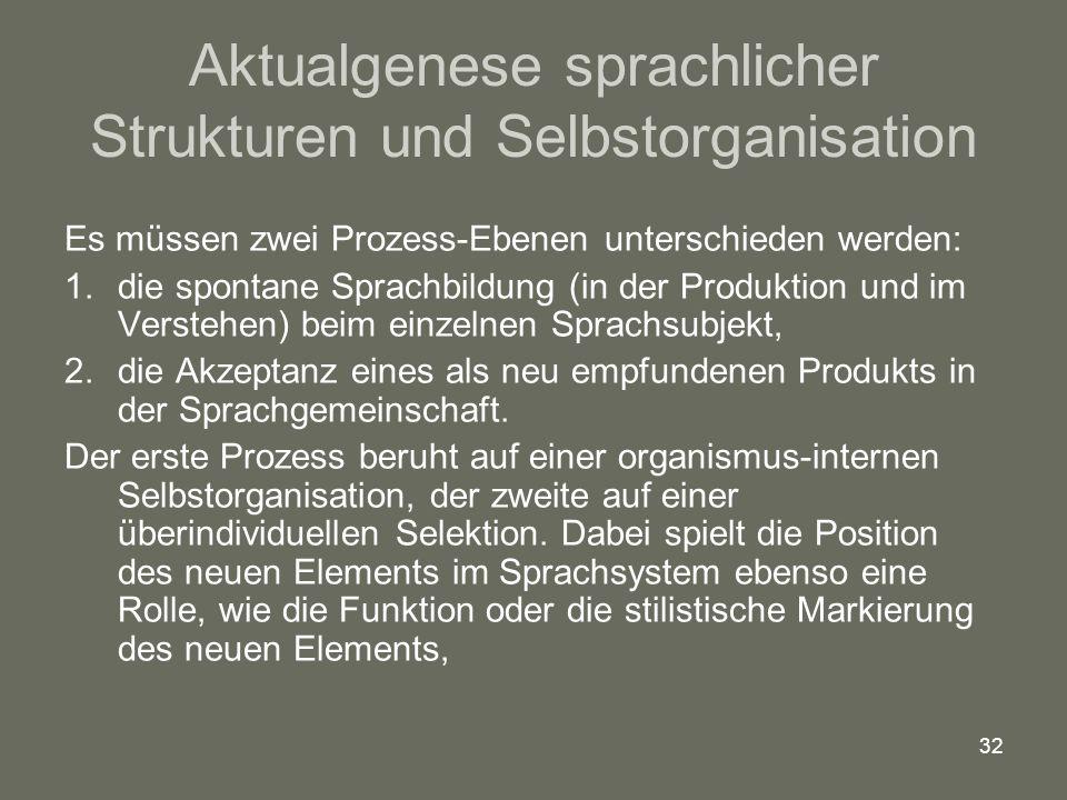 Aktualgenese sprachlicher Strukturen und Selbstorganisation