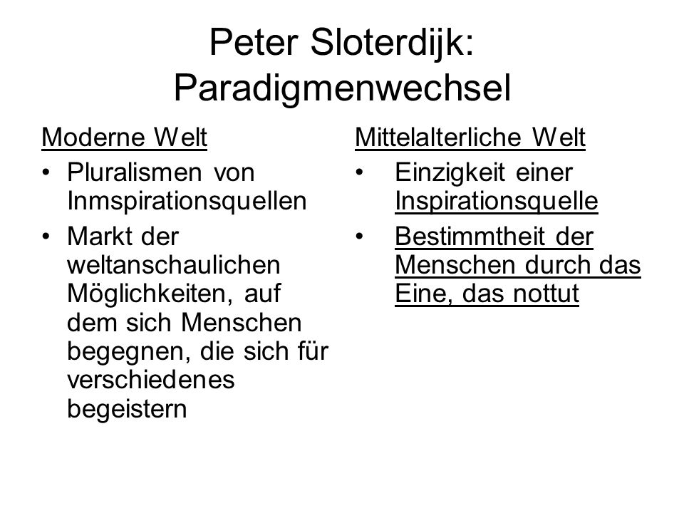 Peter Sloterdijk: Paradigmenwechsel