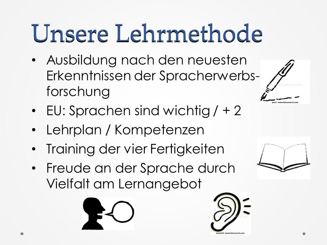 Unsere Lehrmethode Ausbildung nach den neuesten Erkenntnissen der Spracherwerbs- forschung. EU: Sprachen sind wichtig / + 2.