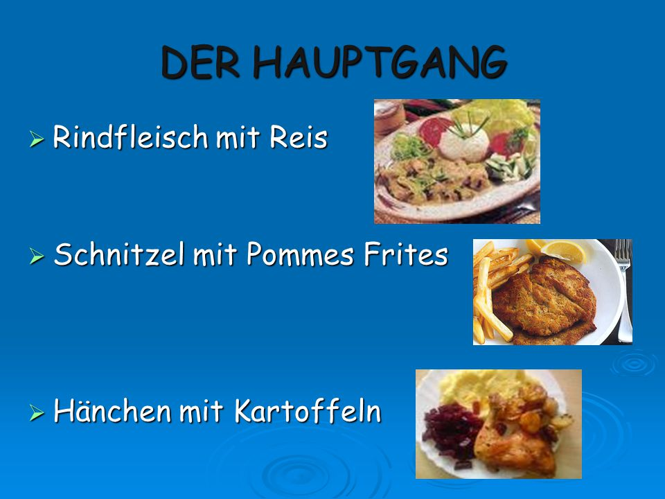 DER HAUPTGANG Rindfleisch mit Reis Schnitzel mit Pommes Frites