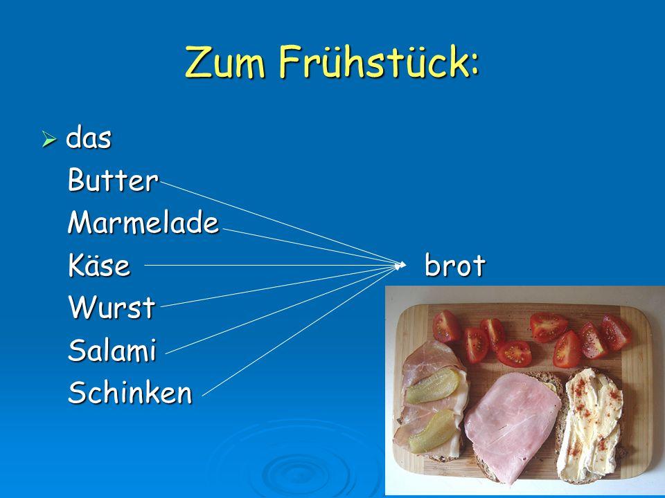 Zum Frühstück: das Butter Marmelade Käse brot Wurst Salami Schinken