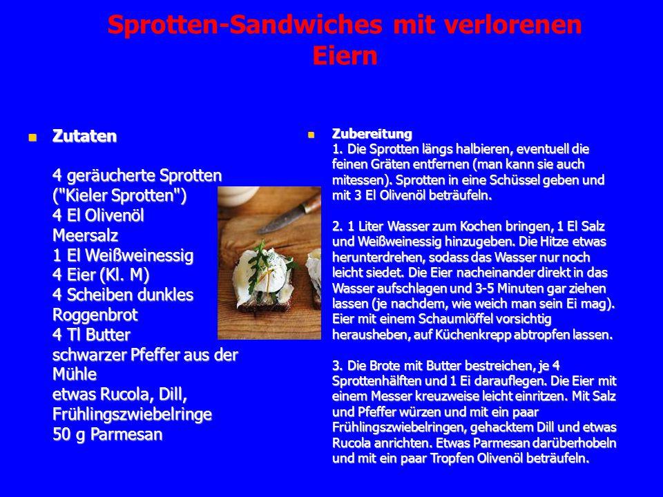 Sprotten-Sandwiches mit verlorenen Eiern