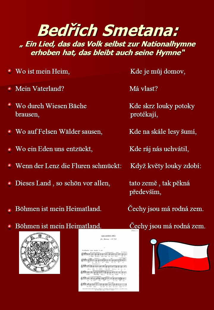 """Bedřich Smetana: """" Ein Lied, das das Volk selbst zur Nationalhymne erhoben hat, das bleibt auch seine Hymne"""