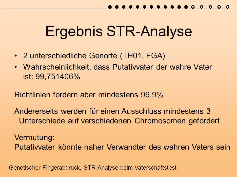 Ergebnis STR-Analyse 2 unterschiedliche Genorte (TH01, FGA)