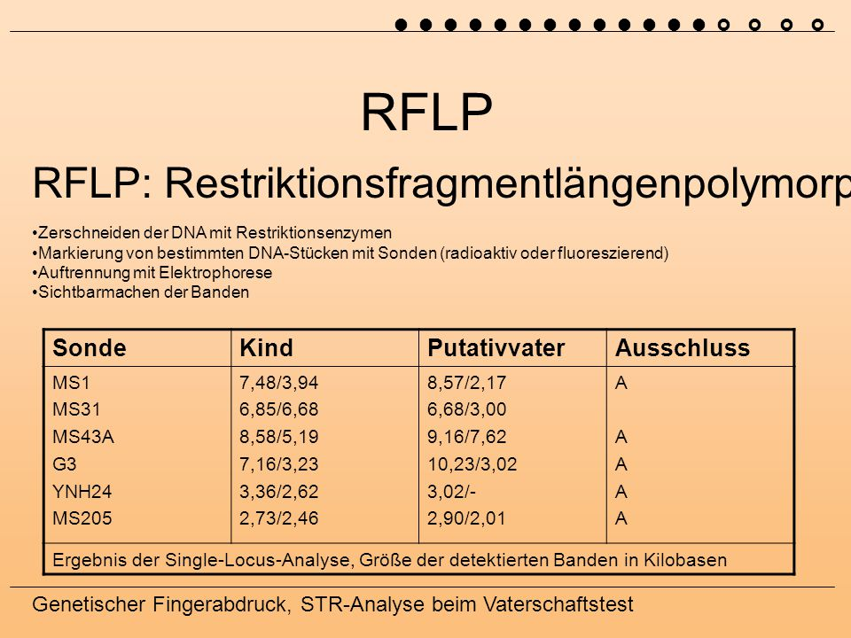 RFLP RFLP: Restriktionsfragmentlängenpolymorphismus Sonde Kind