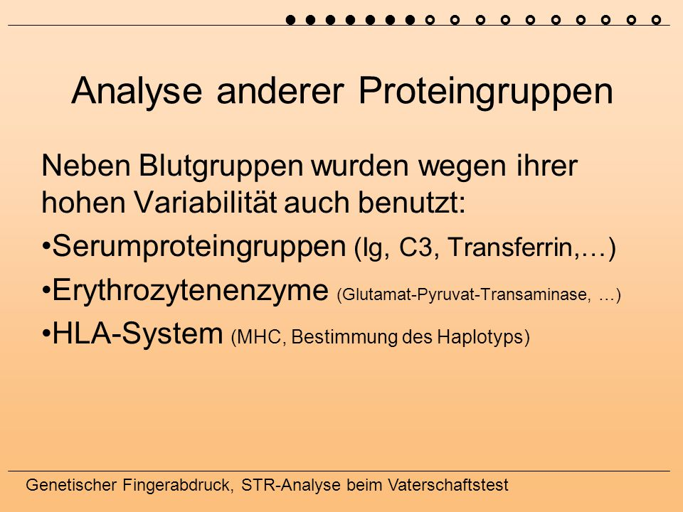 Analyse anderer Proteingruppen