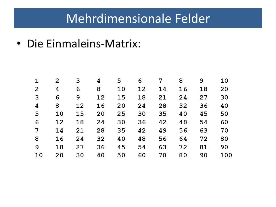 Mehrdimensionale Felder