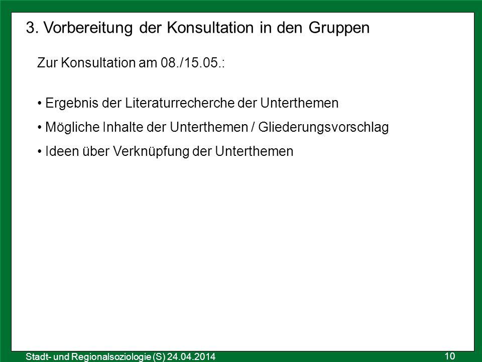 3. Vorbereitung der Konsultation in den Gruppen