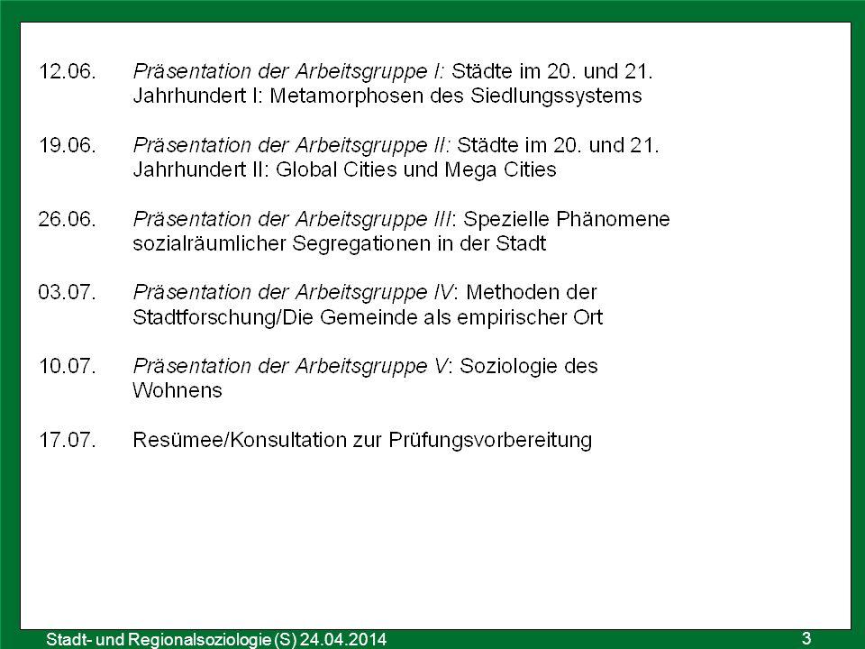 Sozialraumanalyse 25.10.2011 Stadt- und Regionalsoziologie (S) 24.04.2014