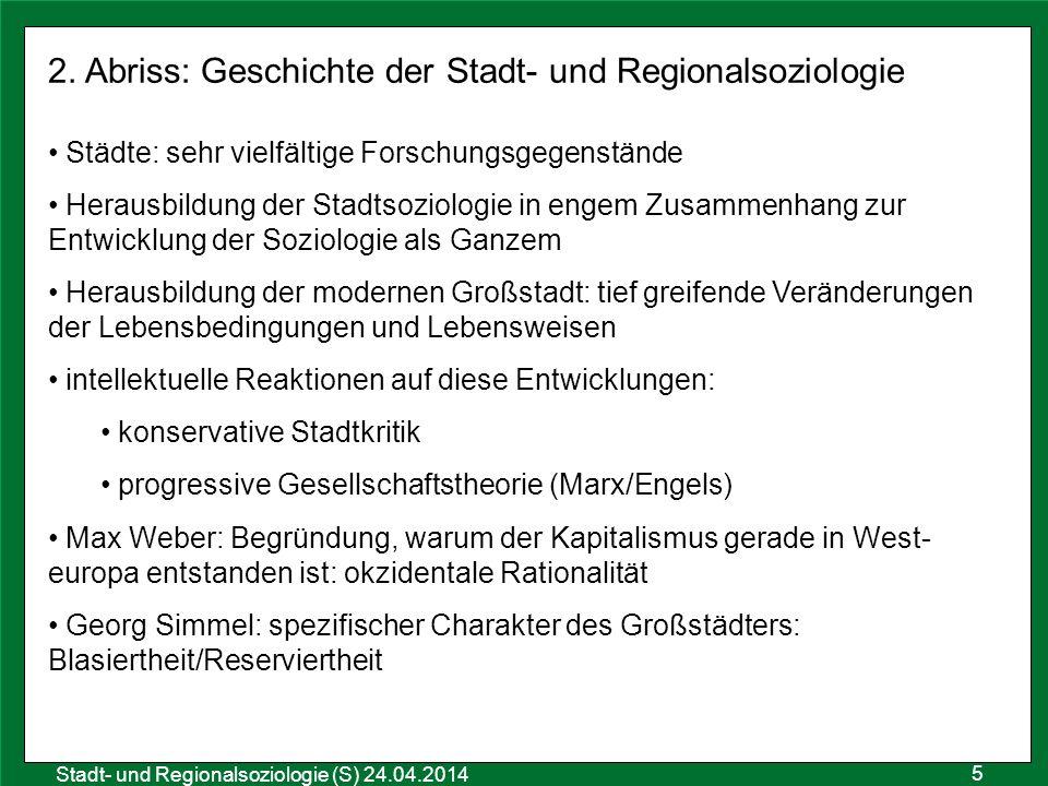 2. Abriss: Geschichte der Stadt- und Regionalsoziologie