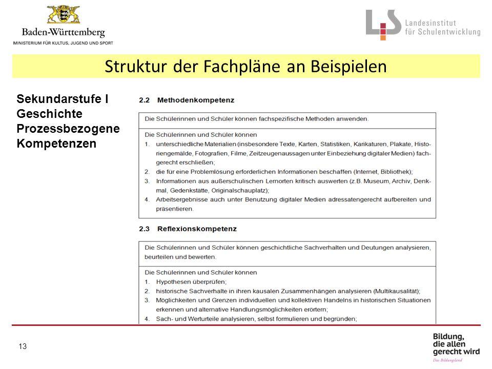 Struktur der Fachpläne an Beispielen