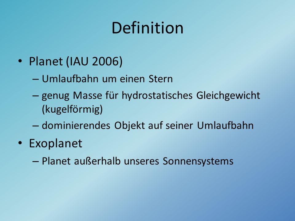 Definition Planet (IAU 2006) Exoplanet Umlaufbahn um einen Stern