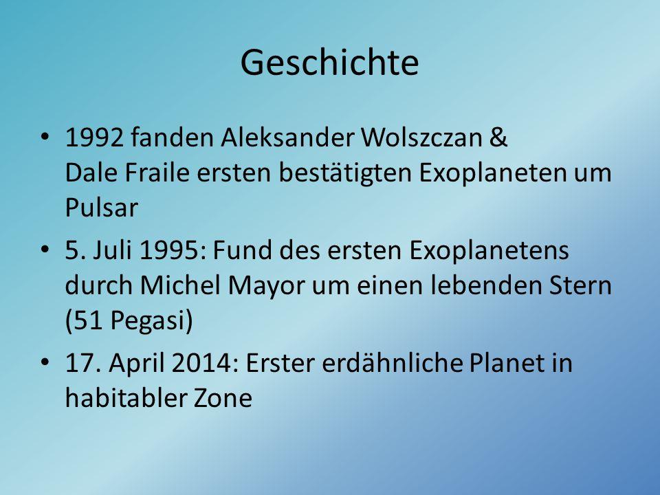 Geschichte 1992 fanden Aleksander Wolszczan & Dale Fraile ersten bestätigten Exoplaneten um Pulsar.