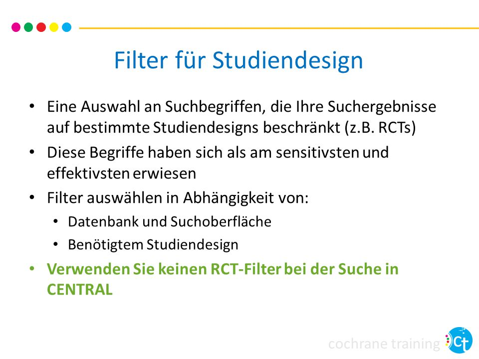 Filter für Studiendesign
