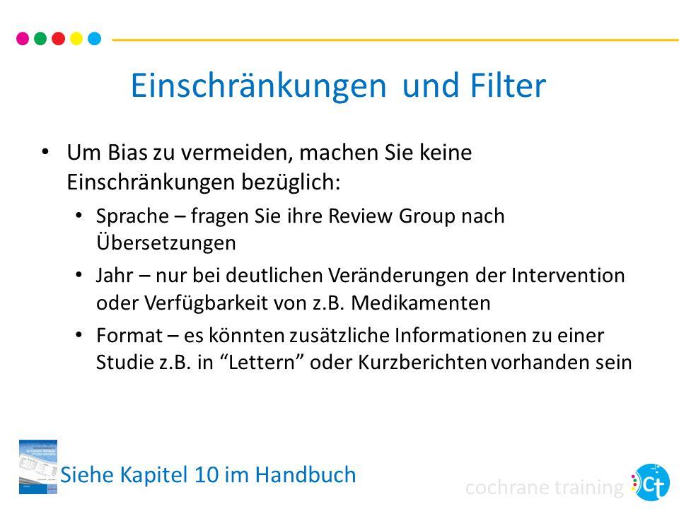 Einschränkungen und Filter