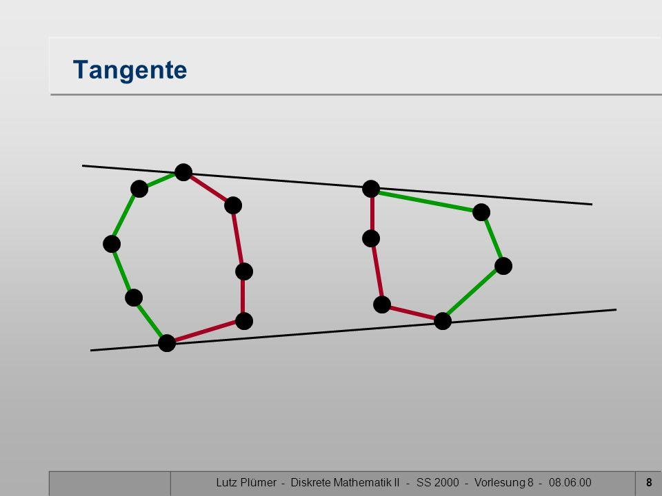 Tangente Lutz Plümer - Diskrete Mathematik II - SS 2000 - Vorlesung 8 - 08.06.00