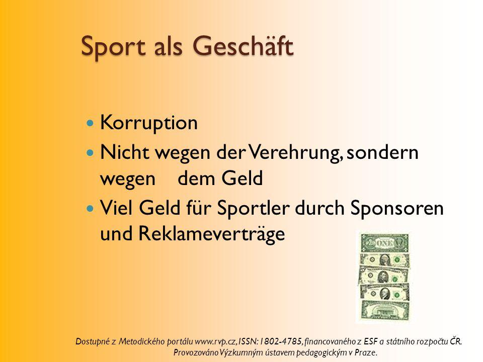 Sport als Geschäft Korruption