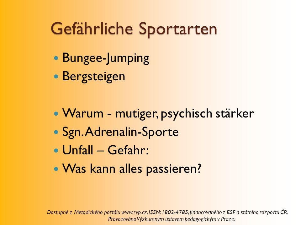 Gefährliche Sportarten