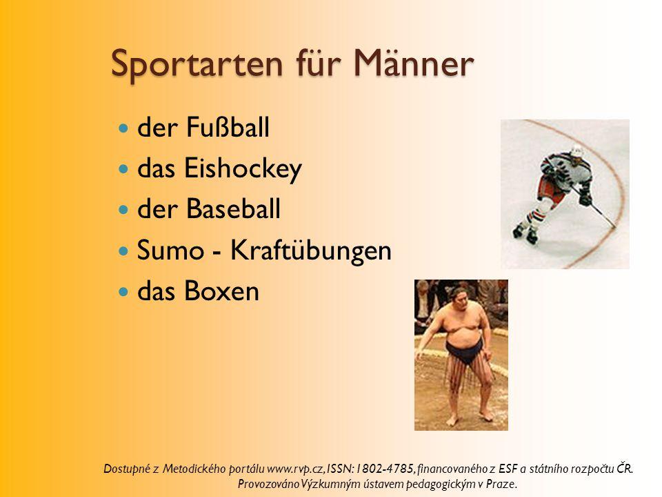 Sportarten für Männer der Fußball das Eishockey der Baseball