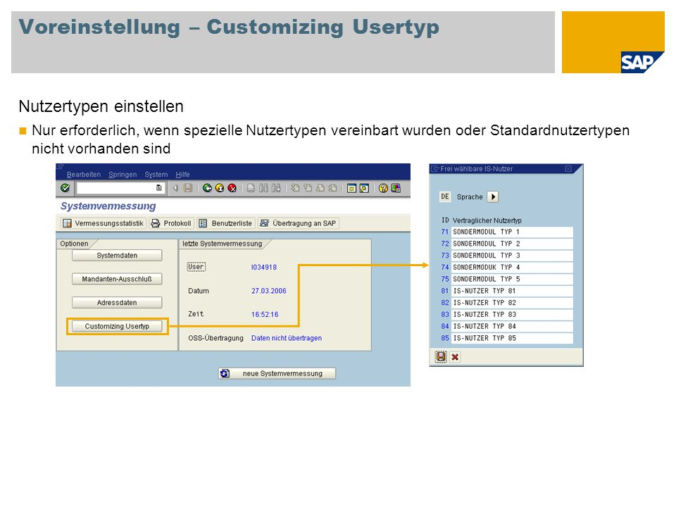 Voreinstellung – Customizing Usertyp