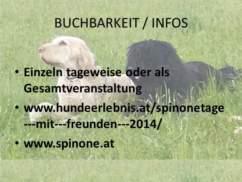 BUCHBARKEIT / INFOS Einzeln tageweise oder als Gesamtveranstaltung