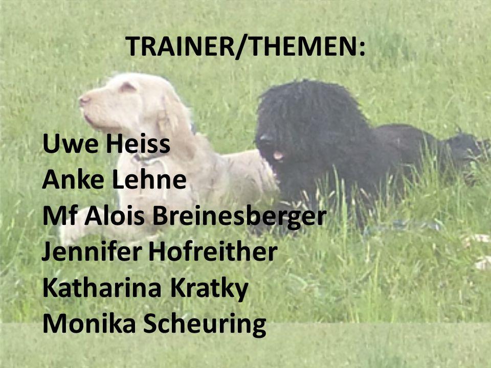 TRAINER/THEMEN: Uwe Heiss. Anke Lehne. Mf Alois Breinesberger. Jennifer Hofreither. Katharina Kratky.