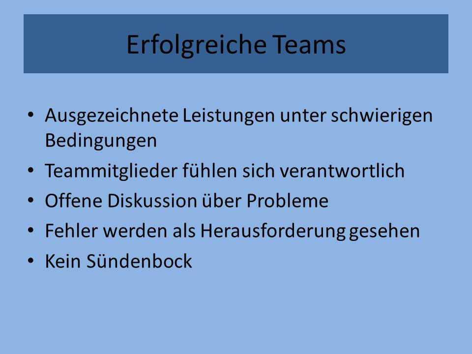Erfolgreiche Teams Ausgezeichnete Leistungen unter schwierigen Bedingungen. Teammitglieder fühlen sich verantwortlich.