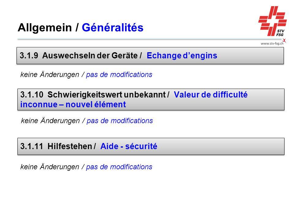 Allgemein / Généralités