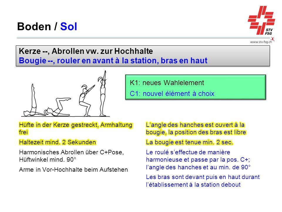 Boden / Sol Kerze --, Abrollen vw. zur Hochhalte Bougie --, rouler en avant à la station, bras en haut.
