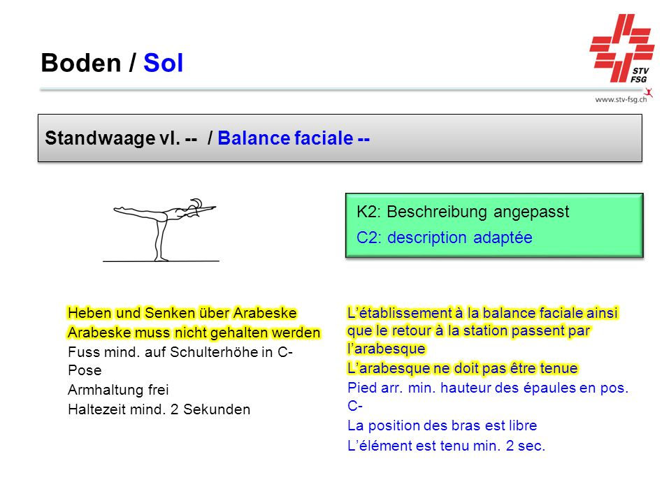 Boden / Sol Standwaage vl. -- / Balance faciale --